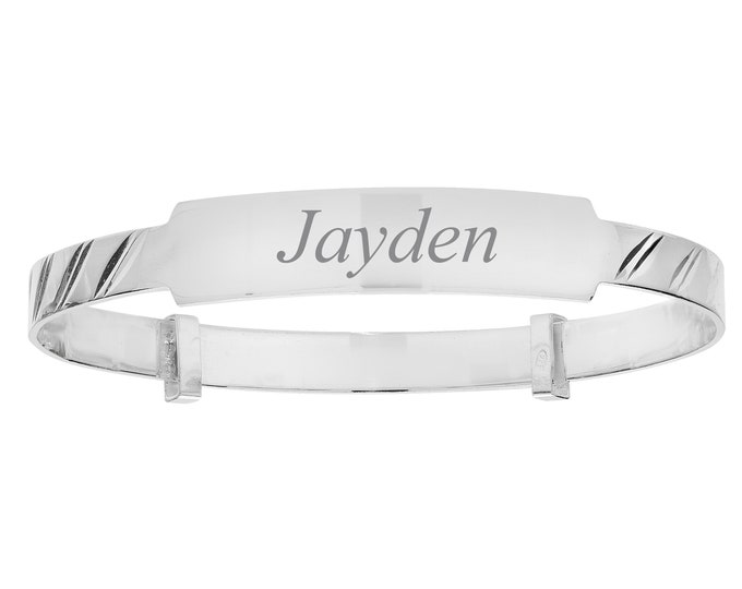 925 Sterling Silver Expandable Baby Identity Bangle - Personalised Name