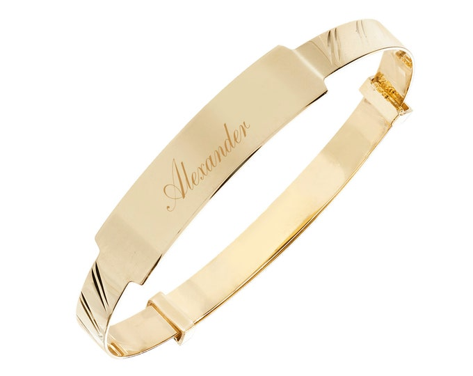 9ct Gold Expandable 4mm Baby Identity Bangle - Personalised Name