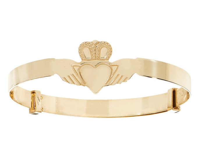 9ct Yellow Gold Babies Expandable 4mm Claddagh Bangle Hallmarked