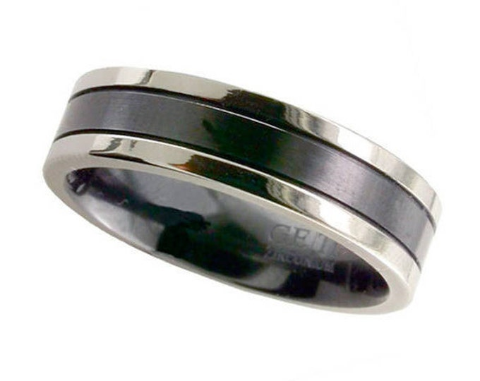 Black Zirconium Wedding Ring Centre Stripe & Polished Natural Edges - Made to Order - FREE ENGRAVING