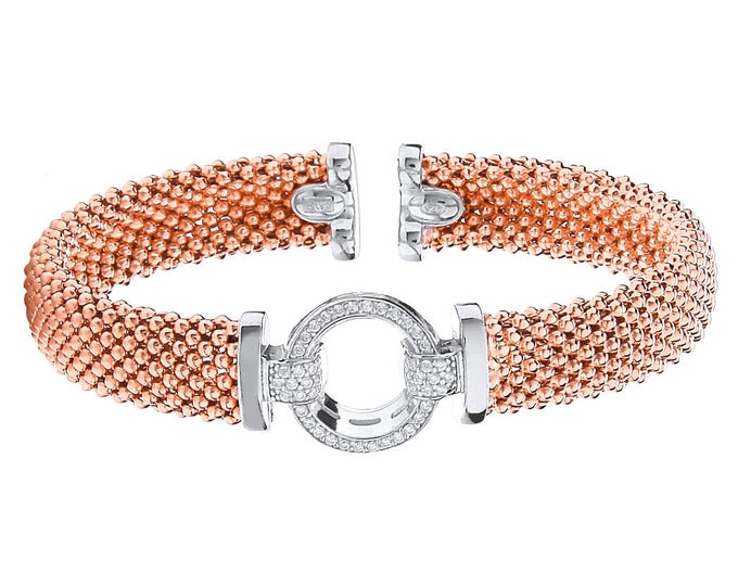 Rose Gold on Silver Popcorn Mesh Torque Bangle with Cz Bolt Ring Hallmarked