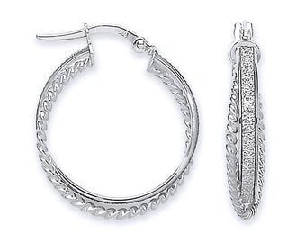 9ct White Gold & Stardust 20mm Twisted Ribbed Edge Double Hoop Earrings