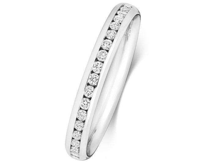 9ct White Gold 2.7mm Half Channel Set 0.23ct Diamond Eternity Ring Hallmarked
