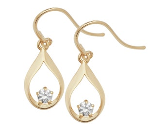 9ct Yellow Gold 1.5cm Teardrop Fish Hook Earrings With Cz Stones - Real 9K Gold