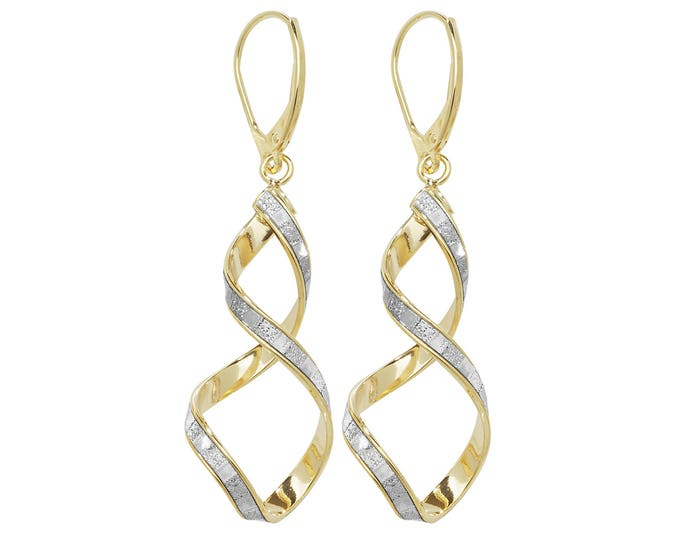 9ct Yellow Gold Stardust Twisted Spiral Long 45mm Drop Earrings