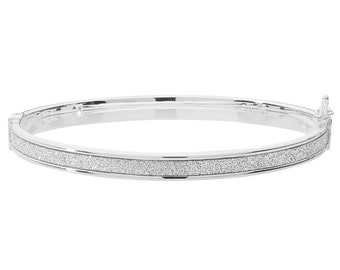 9ct White Gold Stardust Striped 3mm Hinged Baby Bangle Hallmarked - Real 9K Gold