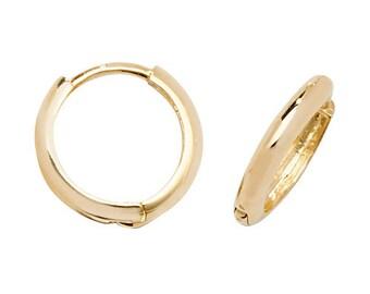 9ct Yellow Gold 8mm Diameter Hinged D Shaped Hoop Earrings - Real 9K Gold