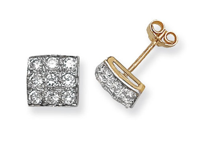 9ct Yellow Gold 6mm Square Pave Set Cz Stud Earrings Hallmarked