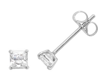 9ct White Gold 4 Claw Set Cz Princess Solitaire Stud Earrings 2mm  5mm