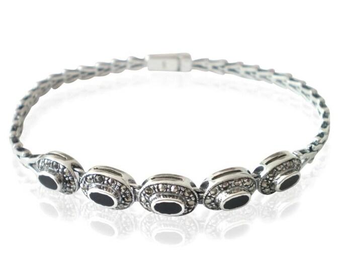 Vintage Sterling Silver Oval Black Onyx & Marcasite Link Bracelet