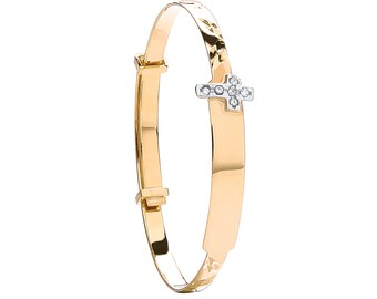 9ct Yellow Gold Babies Expandable 3mm Cz Cross ID Bangle Hallmarked - Solid 9K Gold