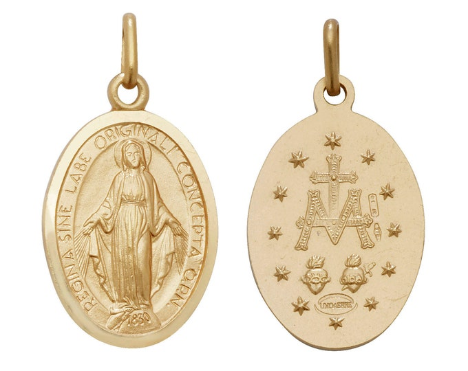 Solid 9ct Yellow Gold Oval Miraculous Madonna Medallion Charm Pendant Hallmarked
