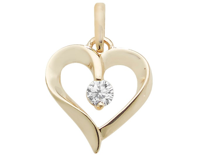 9ct Yellow Gold Love Heart Charm Pendant With Cz Solitaire Stone