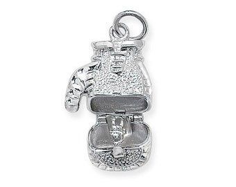 925 Sterling Silver 2.5cm Opening Boxing Glove Pendant Hallmarked