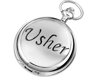 Usher Full Hunter Chrome & Pewter Pocket Watch - Personalised Engraved Message