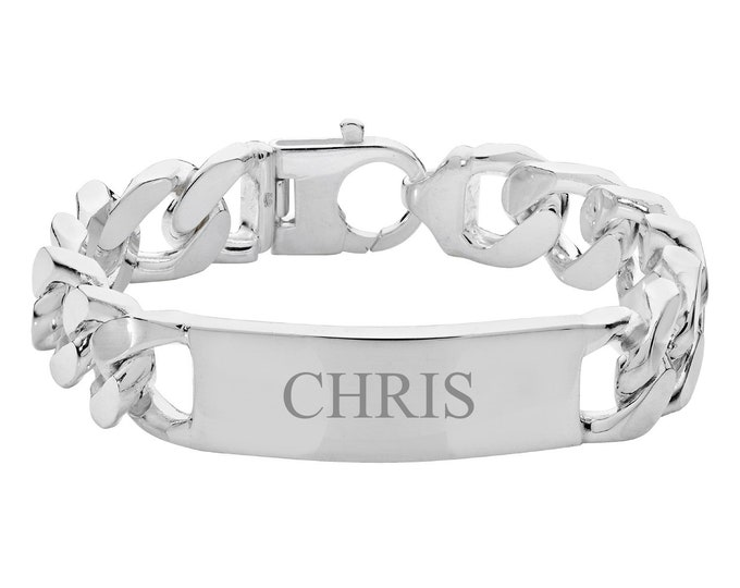 """Men's 925 Sterling Silver 8"""" Curb 14mm Wide Chain ID Bracelet 70g - Engraved Name"""