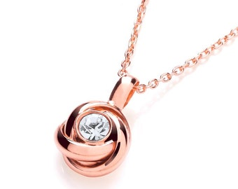 """Sterling Silver Centre Cz Knot Pendant 17"""" Chain-Rose Gold or Silver"""