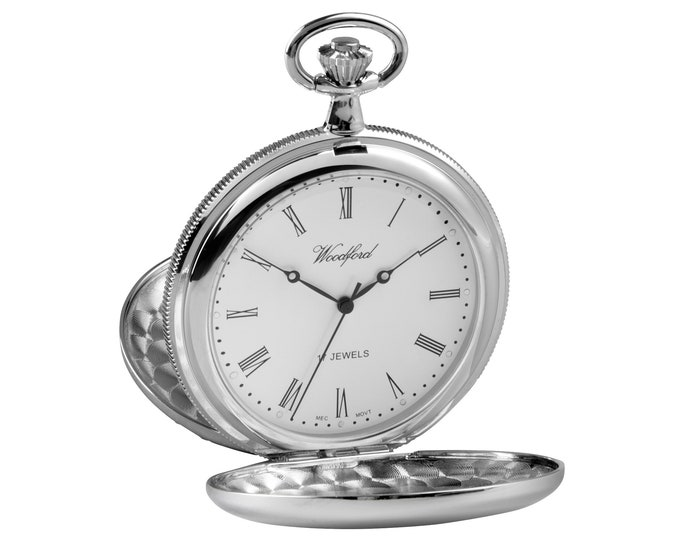 Woodford Chrome Plated 17 Jewel Mechanical Full Hunter Pocket Watch - Personalised Engraved Message