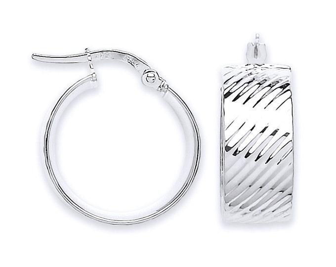 9ct White Gold 8mm Wide Flat Ribbed 15mm Diameter Hoop Earrings