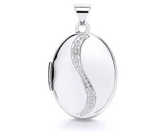 9ct White Gold Single Diamond Oval 2 Photo Wave Locket 20x15mm