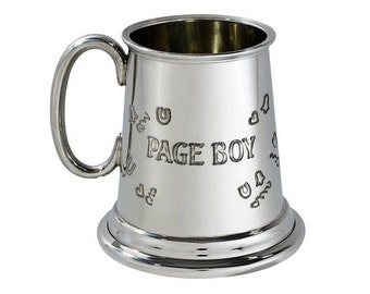 Personalised Page Boy Quarter Pint Pewter Baby Mug Engraved Customised Message