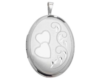 925 Sterling Silver Love Hearts Engraved 2 Photo Oval Shaped Locket 2.5cmx1.8cm