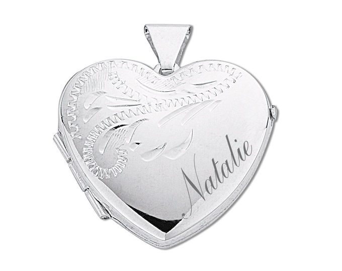 Sterling Silver Half Engraved 2 Photo Heart Locket-Personalised Name & Message