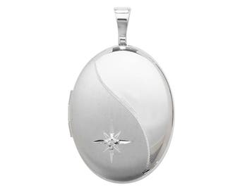 Sterling Silver Single Diamond Wave Design Oval Shaped 2 Photo Locket 1.8cmx1.5cm