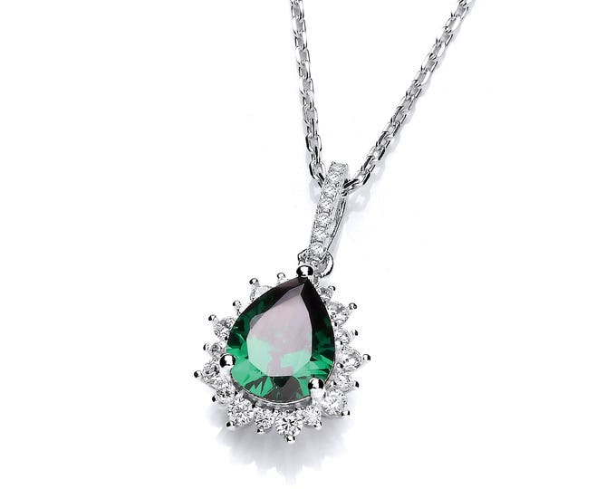 "925 Sterling Silver Emerald Pear Cut & Cluster Surround Cz Teardrop 16""-18"" Necklace"