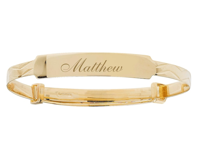 Personalised Engraved 3mm Expandable Baby Name ID Bangle 9ct Gold Hallmarked