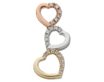 9ct 3 Colour Rose White & Yellow Gold 0.15ct Diamond Trilogy Heart Pendant - Real 9K Gold