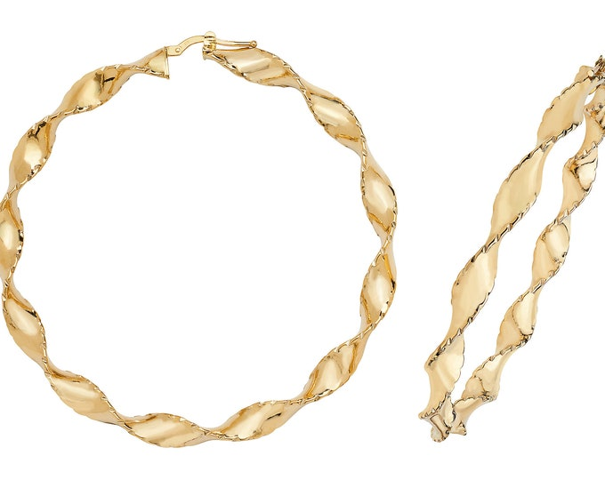 Large 60mm 9ct Yellow Gold Diamond Cut Edge Twisted Ribbon Hoop Earrings Hallmarked