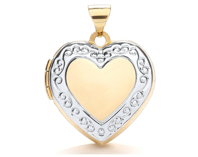 Modern 9ct Gold Heart Shaped Locket With White Gold Scroll Border