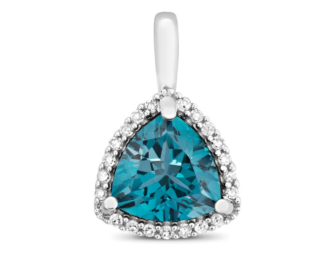 9ct White Gold 0.07ct Diamond 7mm Trillion Cut London Blue Topaz Pendant