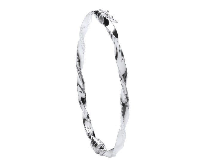 925 Silver Ribbed Edge Hollow Twisted Bangle Safety Clasp