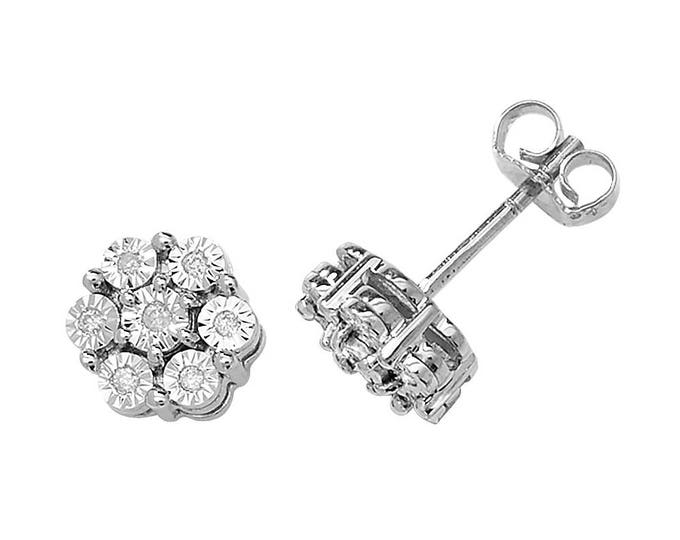9ct White Gold 0.08ct Diamond Cluster Illusion 6mm Stud Earrings - Real 9K Gold