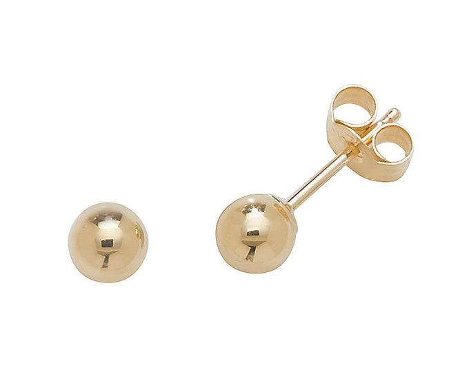 9ct Yellow Gold Plain 4mm Diameter Polished Ball Stud Earrings - Real 9K Gold