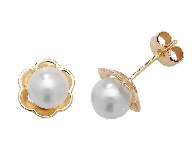 9ct Yellow Gold 5mm Real Cultured Pearls Flower Stud Earrings