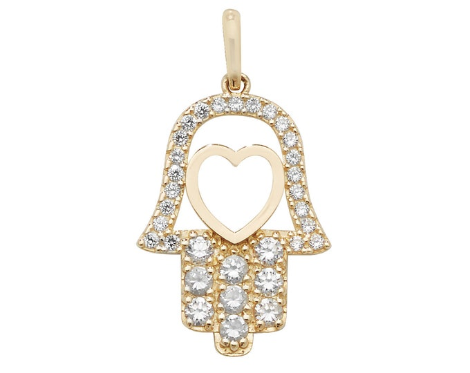 9ct Yellow Gold 1.8cm Pave Cz Hamsa Heart Charm Pendant
