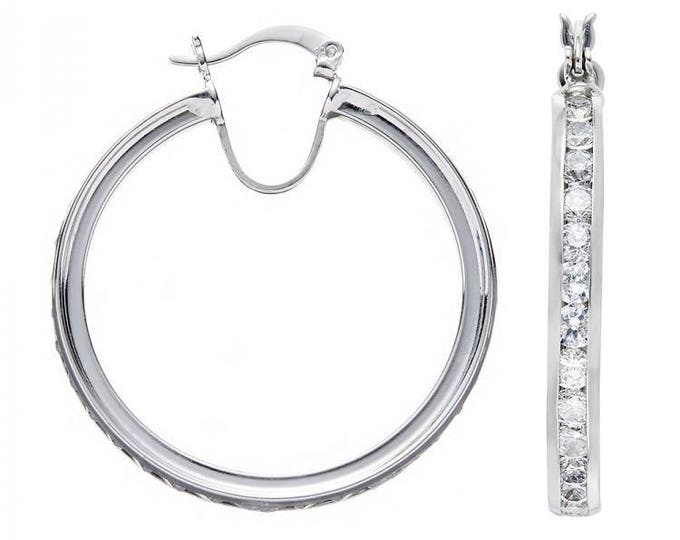 925 Sterling Silver Hoop Earrings Channel Set With Cubic Zirconia Stones