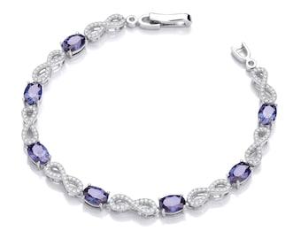 Sterling Silver Oval Cut Sapphire Blue Cz & Pave Infinity Link Bracelet Hallmarked