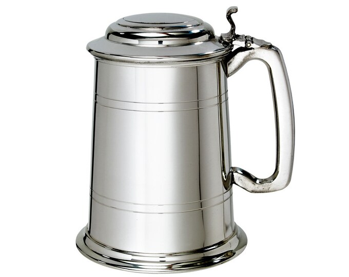 Personalised 1 Pint Lidded Pewter Tankard - Customised Engraved Message