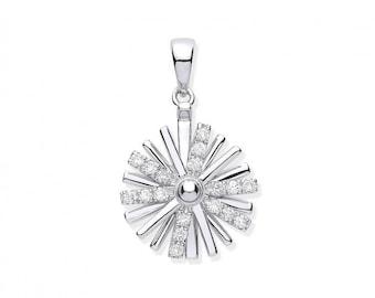 9ct White Gold Spinning Catherine Wheel 0.16ct Diamond Pendant