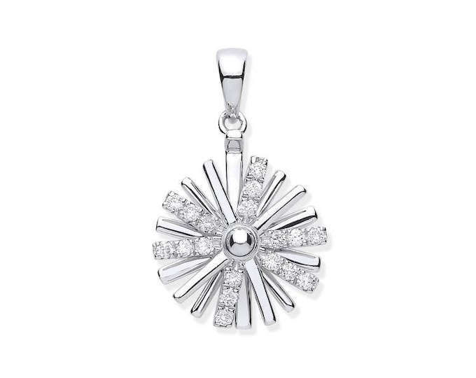 9ct White Gold Spinning Catherine Wheel 0.16ct Diamond Pendant