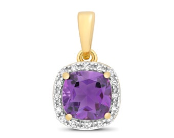 9ct Yellow Gold 0.08ct Diamond 6mm Cushion Cut Amethyst Pendant - Real 9K Gold