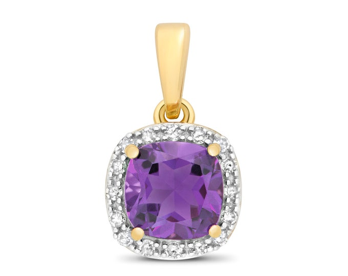 9ct Yellow Gold 0.08ct Diamond 6mm Cushion Cut Amethyst Pendant