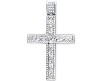 Large Channel Set Cz Cross 5.5cm Micro Pave Edge Pendant 925 Sterling Silver