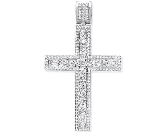 Large Channel Set Cz Cross 5.5cm Micro Pave Edge Pendant 925 Sterling Silver