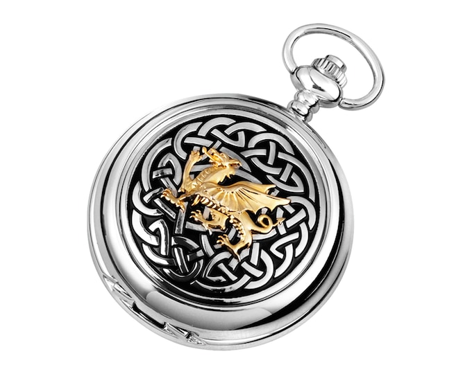 Welsh Dragon Knotwork Full Hunter Chrome & Pewter Pocket Watch - Personalised Engraved Message