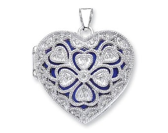 Vintage Filigree Design Sterling Silver Cz Heart Shaped 2 Photo Locket